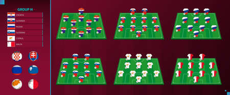 European section of World football tournament qualification, Group H. Vector country flag set and Team Formation on Football Field. Vector illustration. Vettoriali