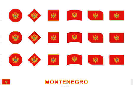 Montenegro flag set, simple flags of Montenegro with three different effects. Vector illustration.