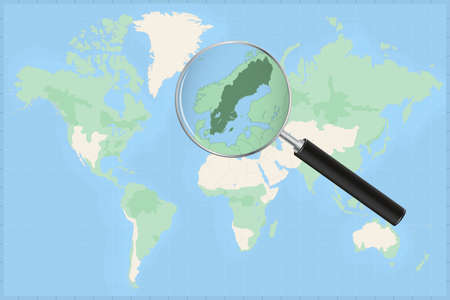 Map of the world with a magnifying glass on a map of Sweden Detailed map of Sweden and neighboring countries in the magnifying glass.