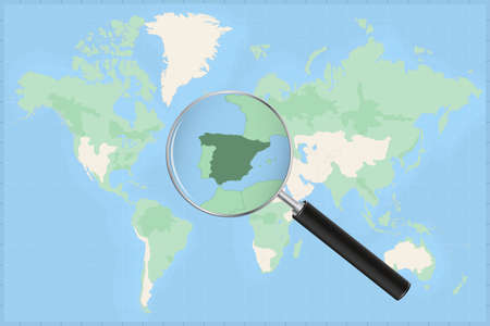 Map of the world with a magnifying glass on a map of Spain Detailed map of Spain and neighboring countries in the magnifying glass.