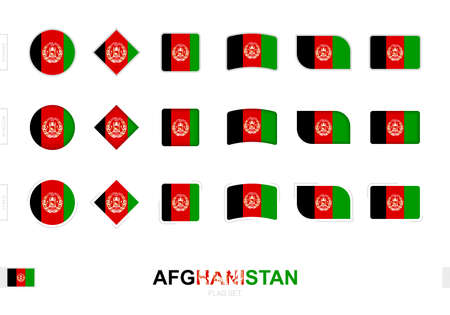 Afghanistan flag set, simple flags of Afghanistan with three different effects. Vector illustration.