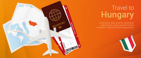 Travel to Hungary pop-under banner. Trip banner with passport, tickets, airplane, boarding pass, map and flag of Hungary. Vector template.