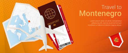 Travel to Montenegro pop-under banner. Trip banner with passport, tickets, airplane, boarding pass, map and flag of Montenegro. Vector template.