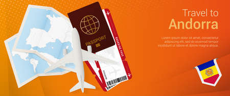 Travel to Andorra pop-under banner. Trip banner with passport, tickets, airplane, boarding pass, map and flag of Andorra. Vector template.