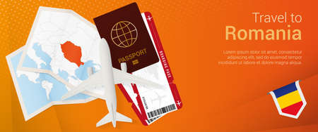 Travel to Romania pop-under banner. Trip banner with passport, tickets, airplane, boarding pass, map and flag of Romania. Vector template.