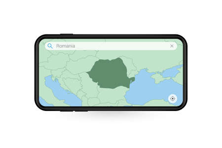 Searching map of Romania in Smartphone map application. Map of Romania in Cell Phone. Vector illustration.
