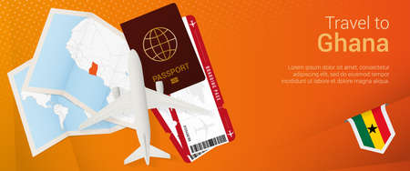 Travel to Ghana pop-under banner. Trip banner with passport, tickets, airplane, boarding pass, map and flag of Ghana. Vector template.