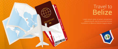 Travel to Belize pop-under banner. Trip banner with passport, tickets, airplane, boarding pass, map and flag of Belize. Vector template.