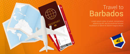 Travel to Barbados pop-under banner. Trip banner with passport, tickets, airplane, boarding pass, map and flag of Barbados. Vector template.