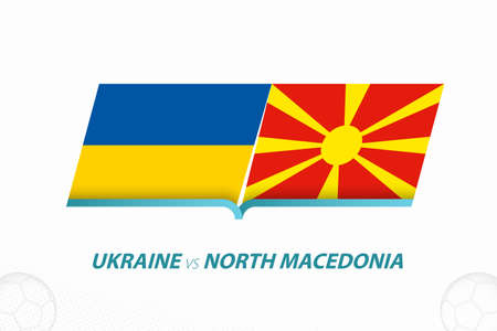 Ukraine vs North Macedonia in European Football Competition, Group C. Versus icon on Football background. Sport vector icon.