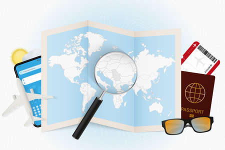 Travel destination Serbia, tourism mockup with travel equipment and world map with magnifying glass on a Serbia. Trip template.