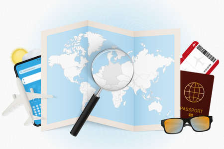 Travel destination Germany, tourism mockup with travel equipment and world map with magnifying glass on a Germany. Trip template.