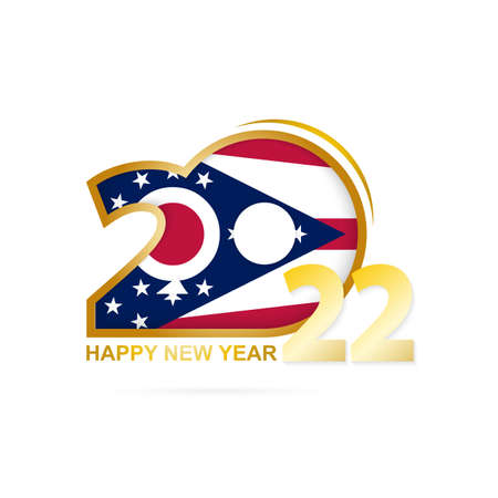 Year 2022 with Ohio Flag pattern. Happy New Year Design. Vector Illustration.