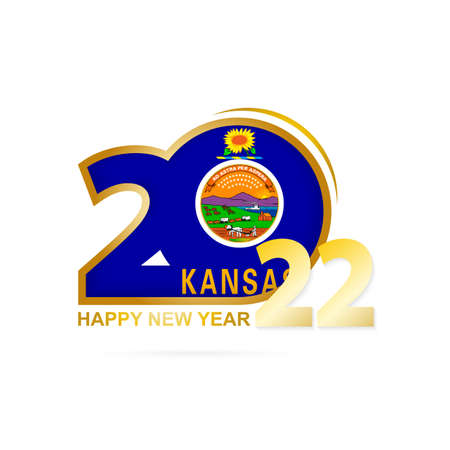Year 2022 with Kansas Flag pattern. Happy New Year Design. Vector Illustration.