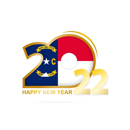 Year 2022 with North Carolina Flag pattern. Happy New Year Design. Vector Illustration.