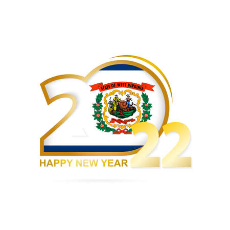 Year 2022 with West Virginia Flag pattern. Happy New Year Design. Vector Illustration. 矢量图像