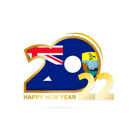 Year 2022 with Saint Helena Flag pattern. Happy New Year Design. Vector Illustration. 矢量图像