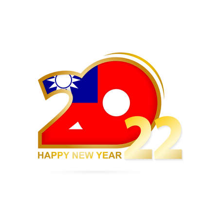 Year 2022 with Taiwan Flag pattern. Happy New Year Design. Vector Illustration.