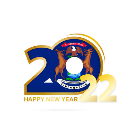 Year 2022 with Michigan Flag pattern. Happy New Year Design. Vector Illustration.