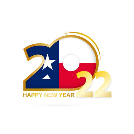 Year 2022 with Texas Flag pattern. Happy New Year Design. Vector Illustration.