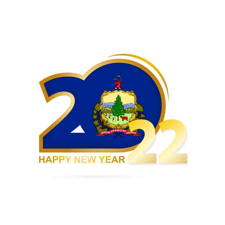 Year 2022 with Vermont Flag pattern. Happy New Year Design. Vector Illustration. 矢量图像
