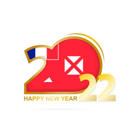 Year 2022 with Wallis and Futuna Flag pattern. Happy New Year Design. Vector Illustration.