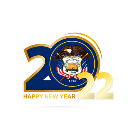 Year 2022 with Utah Flag pattern. Happy New Year Design. Vector Illustration.