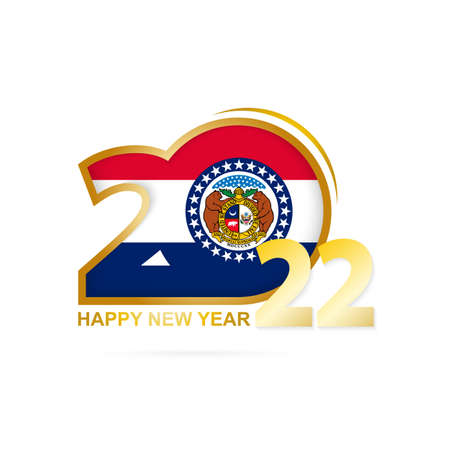 Year 2022 with Missouri Flag pattern. Happy New Year Design. Vector Illustration.
