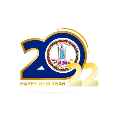 Year 2022 with Virginia Flag pattern. Happy New Year Design. Vector Illustration.
