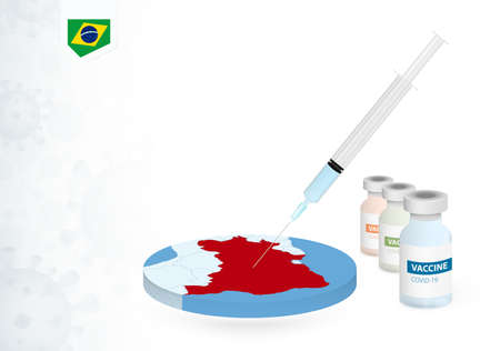 Vaccination in Brazil with different type of COVID-19 vaccine. Сoncept with the vaccine injection in the map of Brazil. Vector illustration.