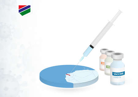 Vaccination in Gambia with different type of COVID-19 vaccine. Сoncept with the vaccine injection in the map of Gambia. Vector illustration.