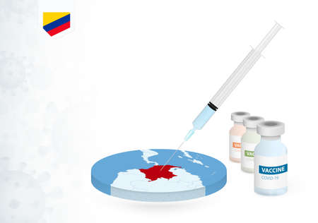 Vaccination in Colombia with different type of COVID-19 vaccine. Сoncept with the vaccine injection in the map of Colombia. Vector illustration.