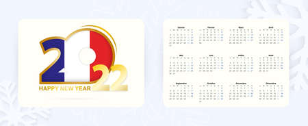 Horizontal Pocket Calendar 2022 in French language. New Year 2022 icon with flag of France. Vector calendar.