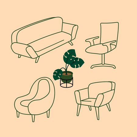 home chair furniture, vector line design