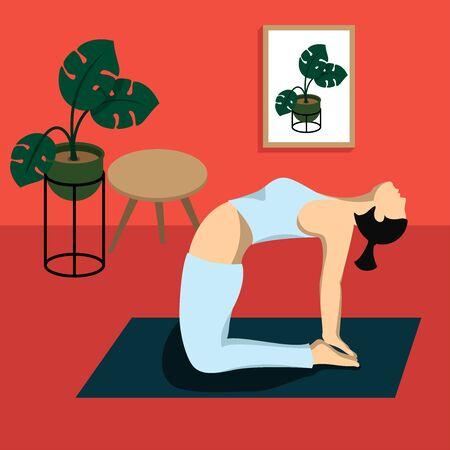 Woman practicing yoga at home, vector flat design Vectores