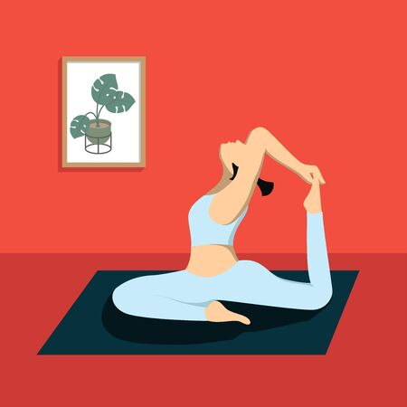 Woman practicing yoga in the living room, vector flat design