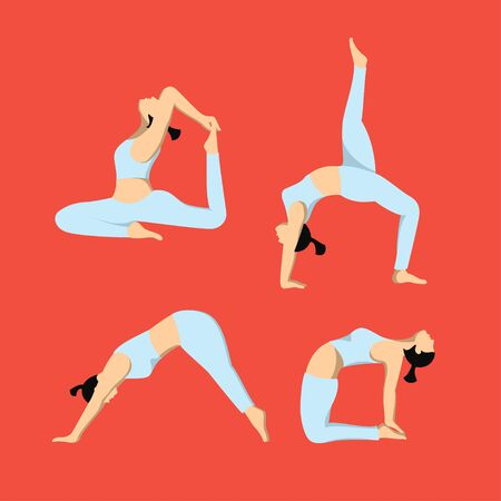 pose for women practicing yoga, vector flat design