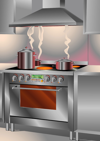 stove pipe: The Illustration Catering Kitchen Stove