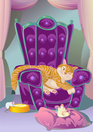 Dozy cat resting in its armchair with a toy mouse on a pillow, while a real, live mouse is taking advantage on the cats negligence, slurping milk from cats plate.  photo