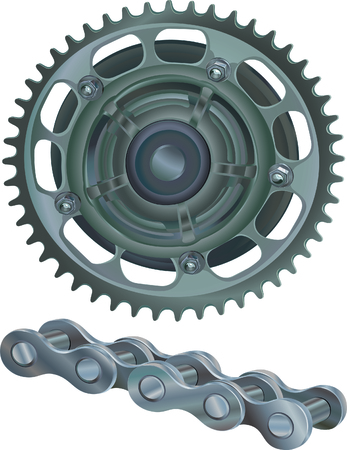 sprocket: Sprocket Wheel With Chain Links Stock Photo