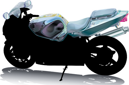 two stroke: Motorcycle Silhouette with Handlebar Fuel Tank and Windshield