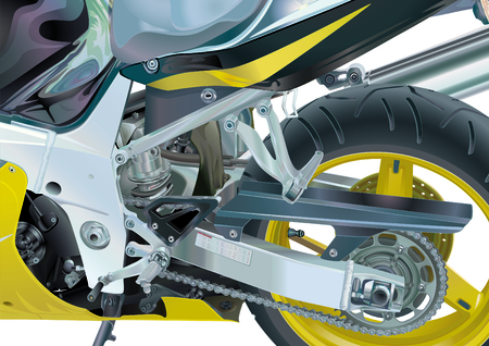 welded: Motorcycle Transmission Elements Stock Photo