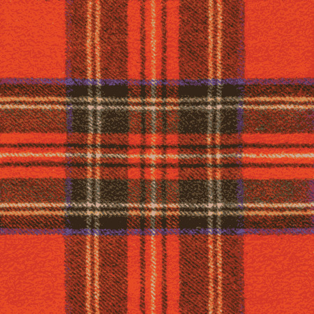 clan: Woolen Red Fabric With Tartan Pattern - Illustration