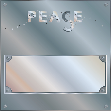 Bullet Holes Riddled Plaque - PEACE - Content elements are placed onto separate labeled layers.