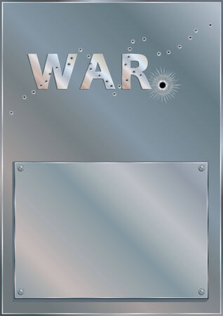 defined: Bullet Holes Riddled Plaque - WAR - is Adobe Illustrator 10 compatible EPS file, defined in CMYK color mode. Content elements are placed onto separate labeled layers. Illustration