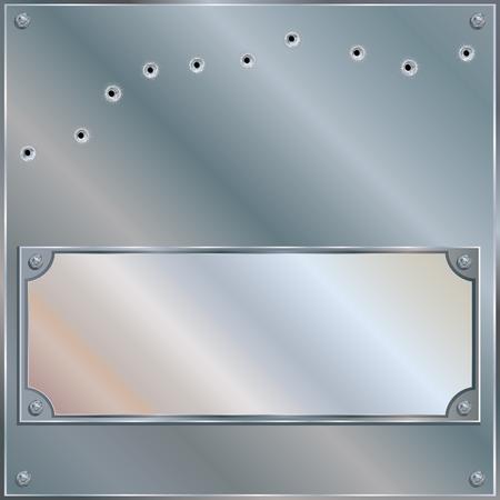 Bullet Riddled Blank Metal Plaque - Illustration Vector