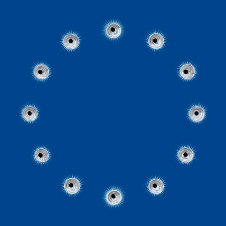 eu: EU Flag Circular Bullet Holes Pattern - Illustration