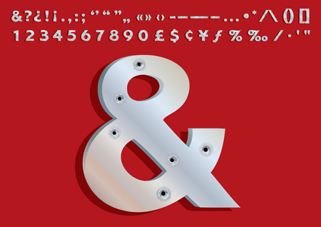 3d mode: Bullets Riddled 3D Metallic Font Set (special characters, numbers and punctuation symbols) - is Adobe Illustrator 10 compatible EPS file, defined in CMYK color mode. Content elements are placed onto separate labeled layers.