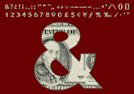us paper currency: One Hundred Dollars Banknote Style Font Set - Numbers Punctuation and Special Characters - Part 02 Illustration