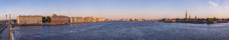 historical reflections: Sunrise wide angle panorama of a city river of Saint - Petersburg